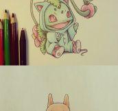 Pokemon wearing evolution costumes…