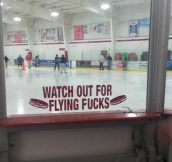 Beware of flying pucks…