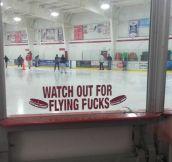 Beware of flying pucks…