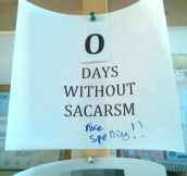 Days without sarcasm…