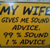 Sound advice in marriage…