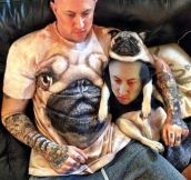 Man in pug shirt, pug in man shirt