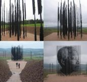 Nelson Mandela monument at the site in South Africa where he was arrested 50 years ago