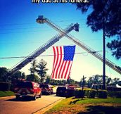 Touching fire department's gesture