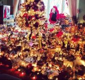 Christmas town at grandma's living room…