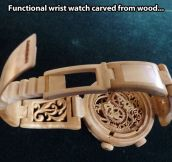Functional watch made of wood…