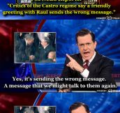 Colbert addresses the controversial handshake…