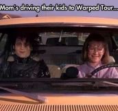 Moms driving their kids…