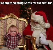 Getting to meet Santa for the first time…