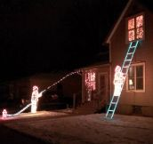 How a fireman decorates for Christmas…