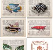 Art on old dictionary pages…