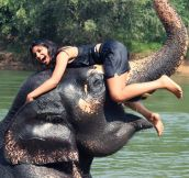Playing with an elephant in Thailand…