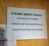 This sums up my finals experience…