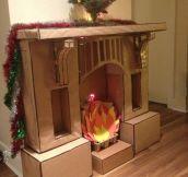 Cardboard fireplace…