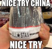 You tried, China…