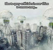 Artificial rain to remove smog in China