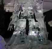 Optimus Prime ice sculpture