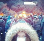 Protesting girl in Ukraine…