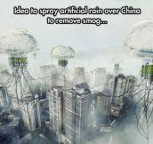 Artificial rain to remove smog in China…