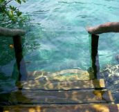 Stepping into crystal clear water…