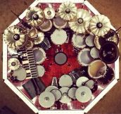 Neil Peart's drum set from above…