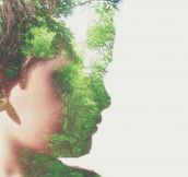 Double exposure of my son in the woods…