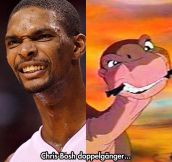 Chris Bosh and Little Foot look the same…