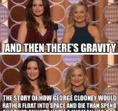 Tina Fey and Amy Phoeler on Gravity…