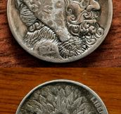 Sculptural art form involving the creative modification of small-denomination coins…