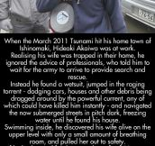 Tsunami hero saves his wife and countless lives…