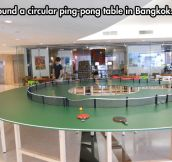 Circular ping-pong table…