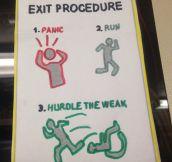 Emergency exit procedure…