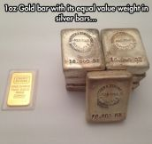 The weight of gold and silver…