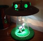 Cow getting abducted by aliens lamp…
