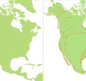 North America looks like a fat dragon…