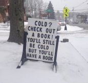 My town's public library has a clever blizzard solution…