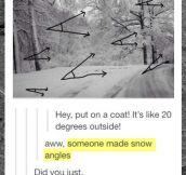 Someone made snow angles…