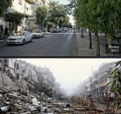 The same street in Homs, Syria in 2011 and 2013…