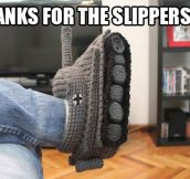 Crafty tank slippers…