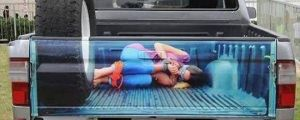 Passenger in the truck bed…