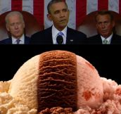 Last night's state of the union address looked like neopolitan ice-cream