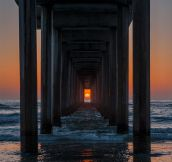 Scripps Pier in La Jolla, California only lines up twice a year