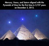 Three planet alignment over Egyptian pyramids