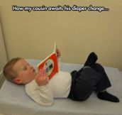 Waiting for the diaper change