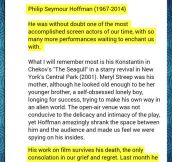 Sir Ian McKellen's tribute to Philip Seymour Hoffman…