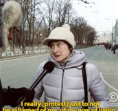 Jason Jones talks to a Russian woman protesting…