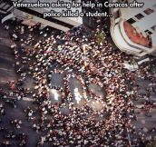 Venezuelan streets full of protesting students…