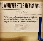 Good luck finding your bike light…