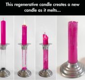 This incredible candle regenerates and creates a new candle…