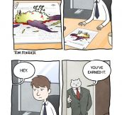 Business cat gives a pay raise…